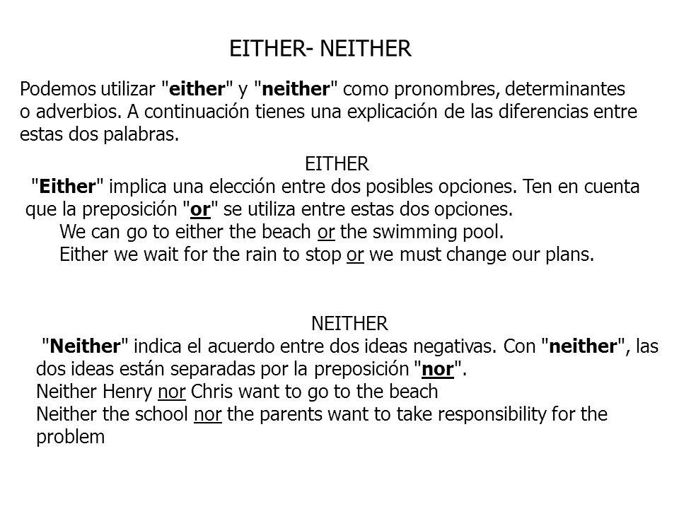 EITHER- NEITHER Podemos utilizar
