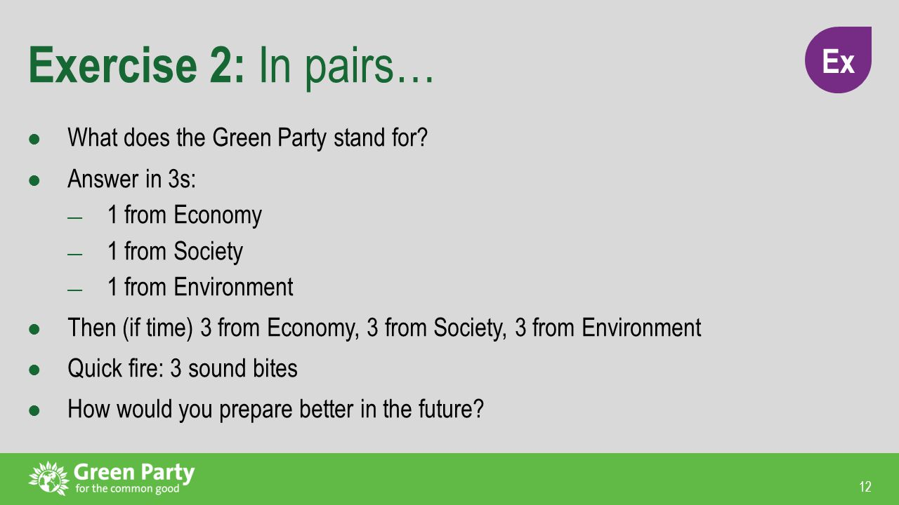 12 Exercise 2: In pairs… What does the Green Party stand for.