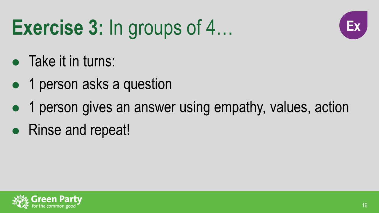16 Exercise 3: In groups of 4… Take it in turns: 1 person asks a question 1 person gives an answer using empathy, values, action Rinse and repeat.