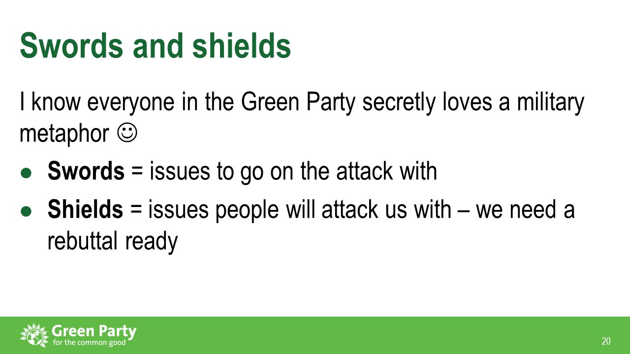 20 Swords and shields I know everyone in the Green Party secretly loves a military metaphor Swords = issues to go on the attack with Shields = issues people will attack us with – we need a rebuttal ready