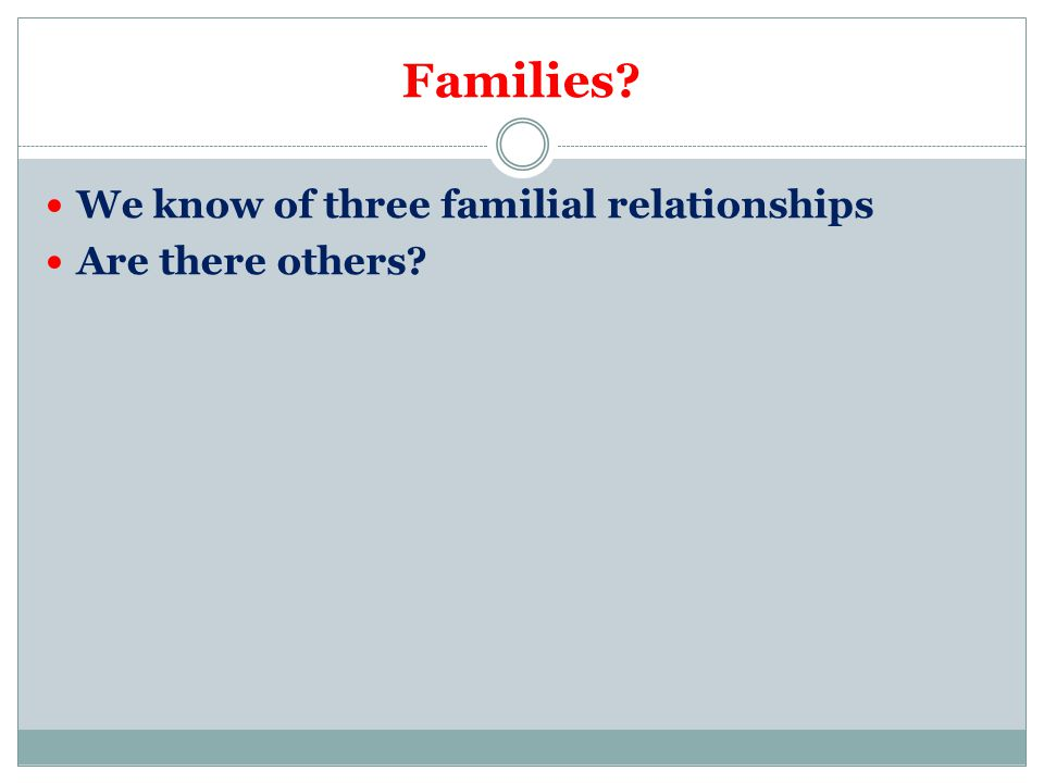 Families We know of three familial relationships Are there others