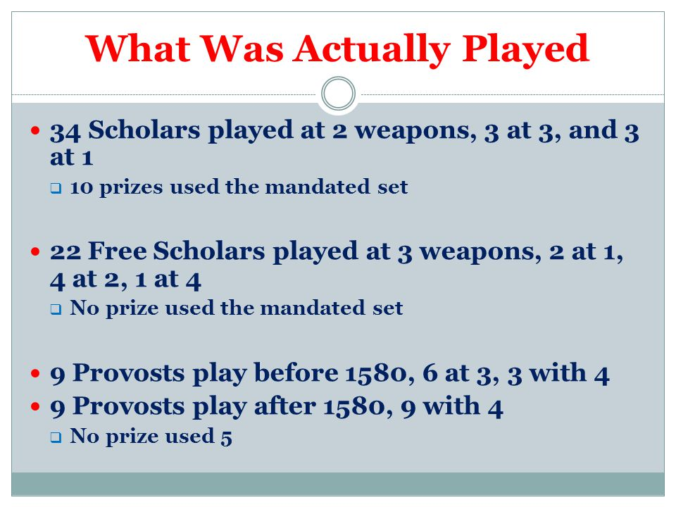 What Was Actually Played 34 Scholars played at 2 weapons, 3 at 3, and 3 at 1  10 prizes used the mandated set 22 Free Scholars played at 3 weapons, 2 at 1, 4 at 2, 1 at 4  No prize used the mandated set 9 Provosts play before 1580, 6 at 3, 3 with 4 9 Provosts play after 1580, 9 with 4  No prize used 5