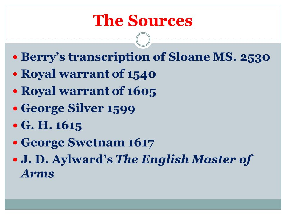 The Sources Berry's transcription of Sloane MS.