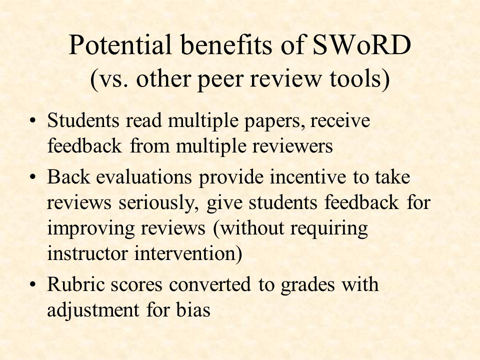 Potential benefits of SWoRD (vs.