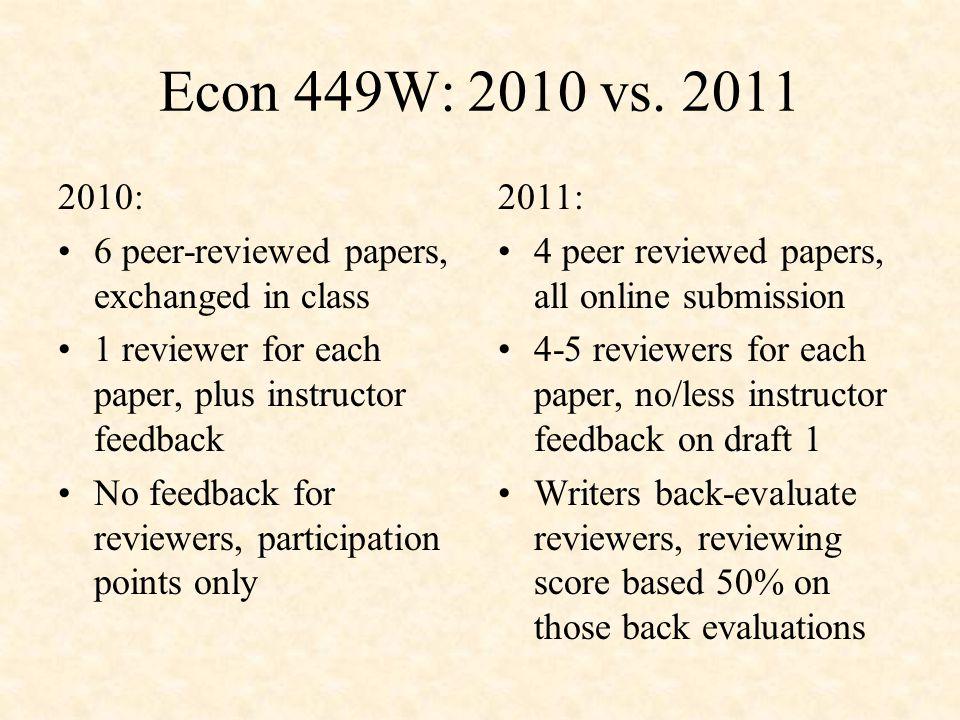 Econ 449W: 2010 vs.