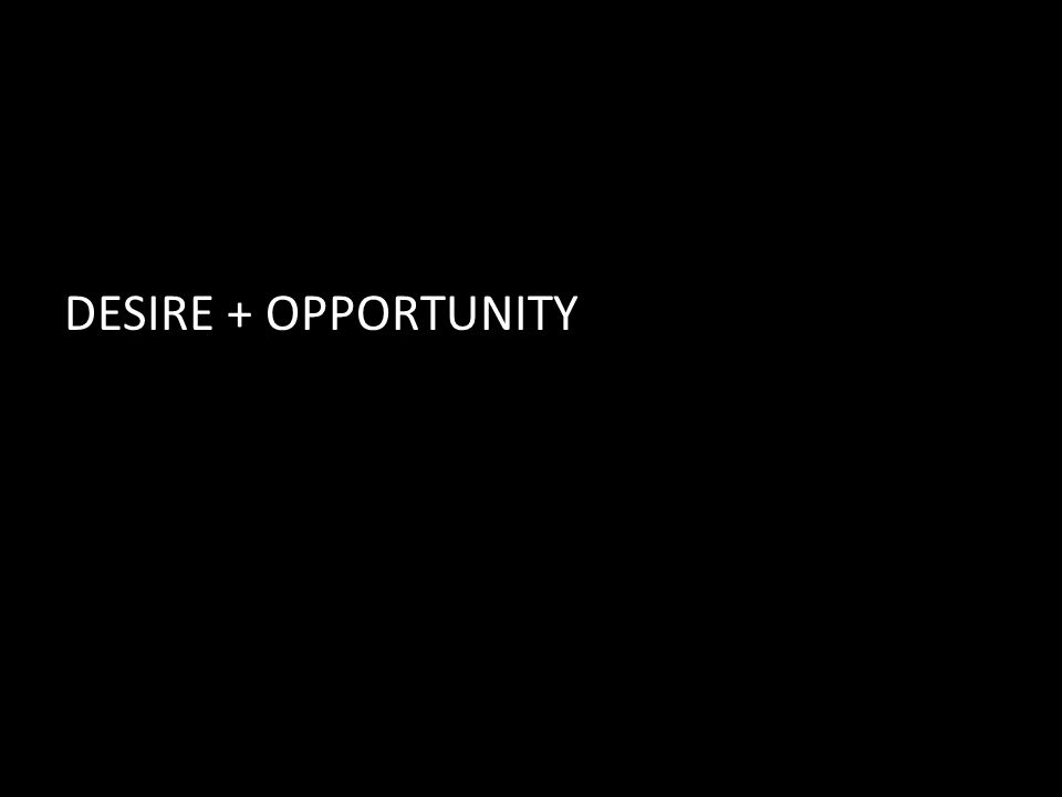 DESIRE + OPPORTUNITY