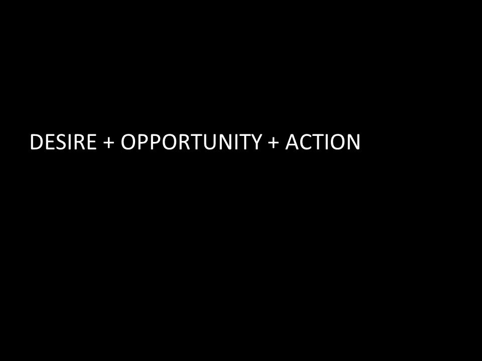 DESIRE + OPPORTUNITY + ACTION