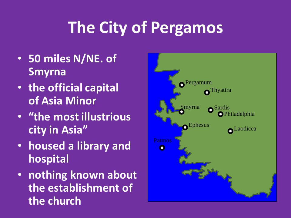 The City of Pergamos 50 miles N/NE.