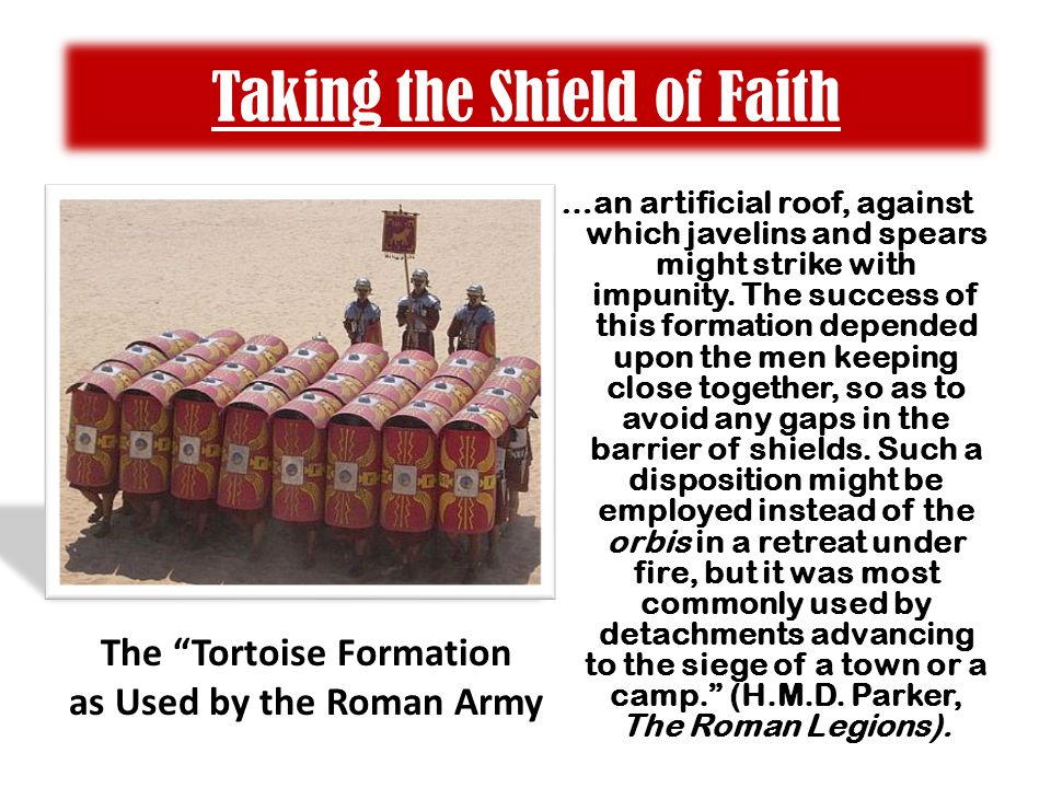 Taking the Shield of Faith …an artificial roof, against which javelins and spears might strike with impunity.