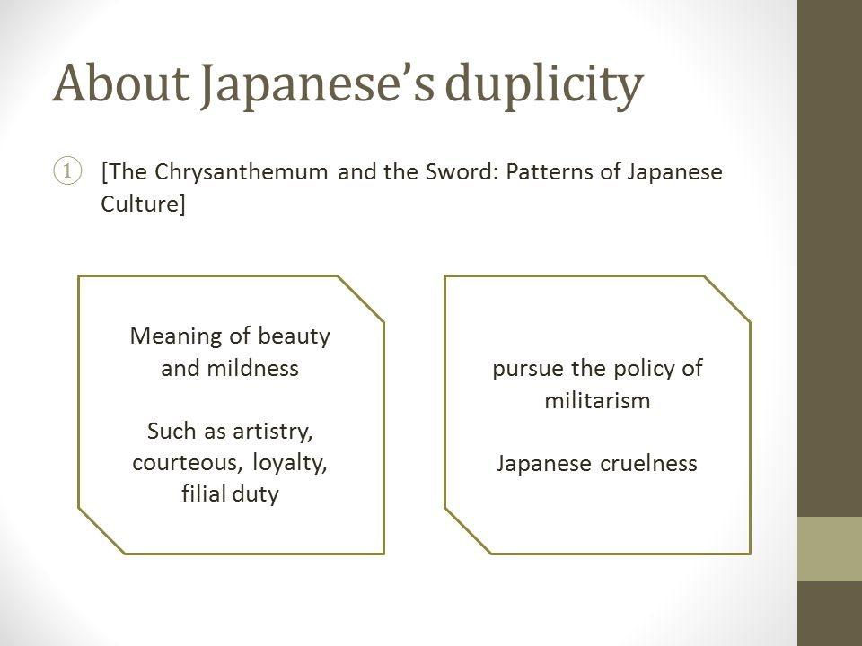 pursue the policy of militarism Japanese cruelness Meaning of beauty and mildness Such as artistry, courteous, loyalty, filial duty About Japanese's duplicity
