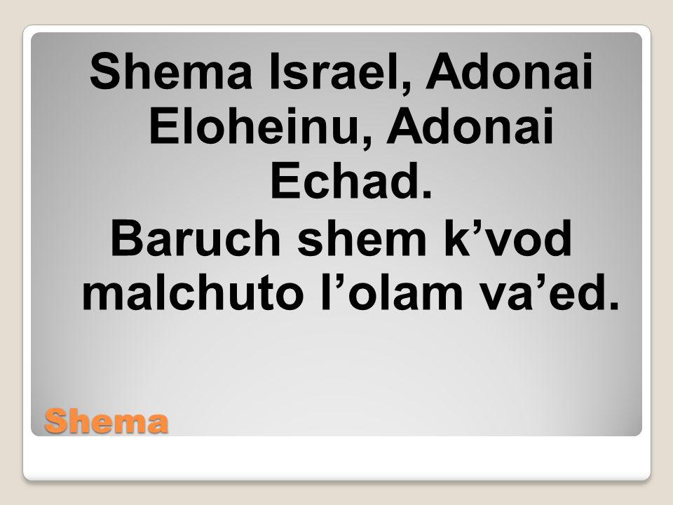 Shema Shema Israel, Adonai Eloheinu, Adonai Echad. Baruch shem k'vod malchuto l'olam va'ed.