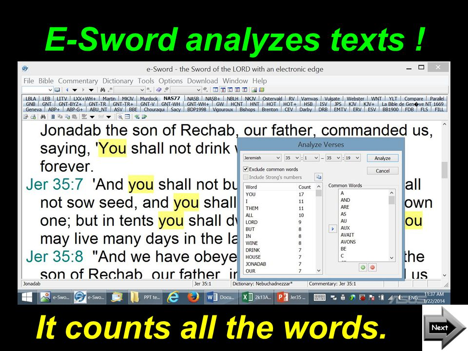 E-Sword analyzes texts ! It counts all the words.