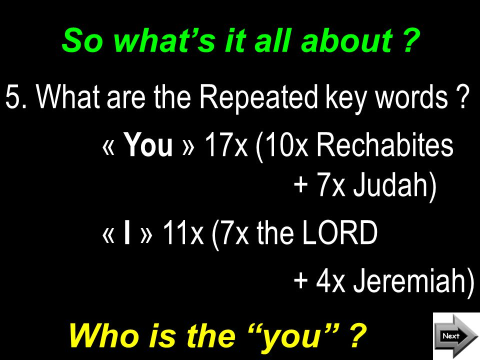 So what's it all about . 5. What are the Repeated key words .