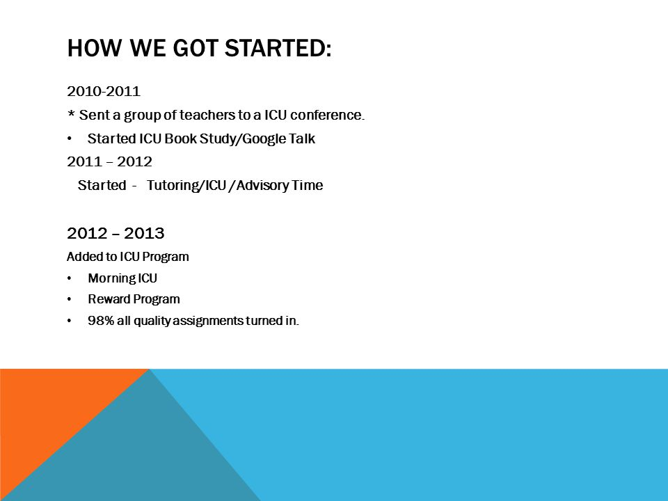 HOW WE GOT STARTED: 2010-2011 * Sent a group of teachers to a ICU conference.