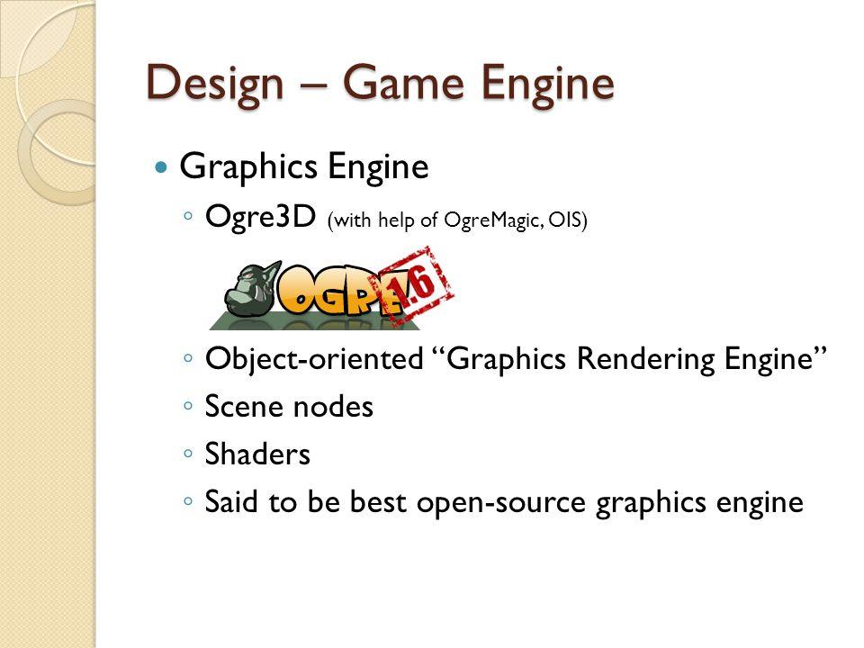 Design – Game Engine Graphics Engine – limitation ◦ ONLY a graphics engine ◦ No Game State ◦ No simple User Interface solution ◦ No controller ◦ No physics!