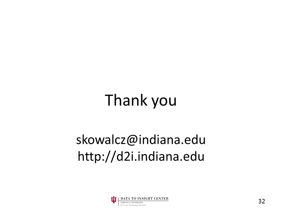 Thank you skowalcz@indiana.edu http://d2i.indiana.edu 32