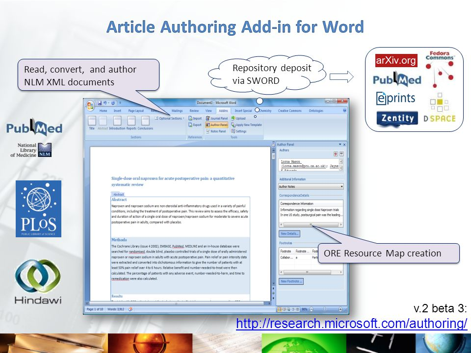 v.2 beta 3: http://research.microsoft.com/authoring/ ORE Resource Map creation Read, convert, and author NLM XML documents Repository deposit via SWORD