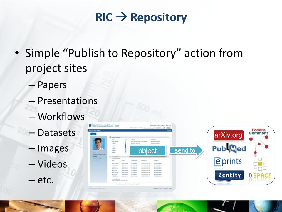 Simple Publish to Repository action from project sites – Papers – Presentations – Workflows – Datasets – Images – Videos – etc.