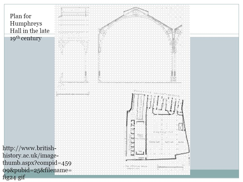 Plan for Humphreys Hall in the late 19 th century http://www.british- history.ac.uk/image- thumb.aspx?compid=459 09&pubid=25&filename= fig24.gif