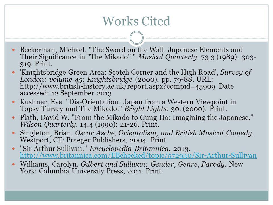 Works Cited Beckerman, Michael.