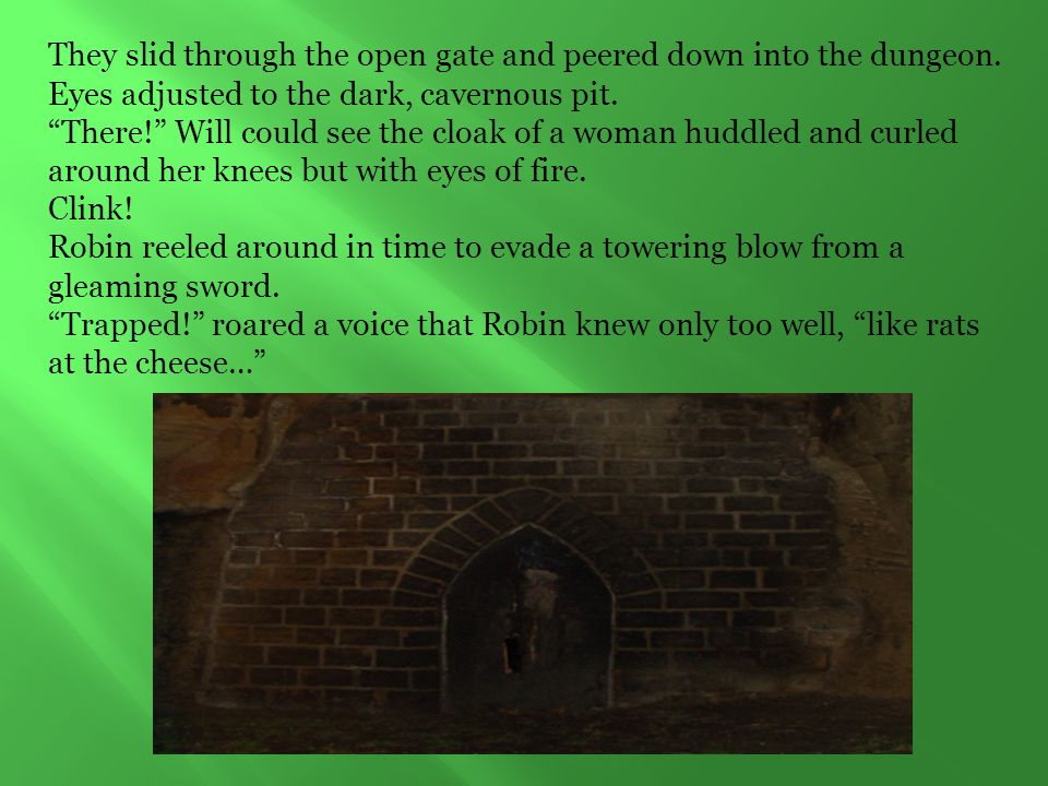 They slid through the open gate and peered down into the dungeon.