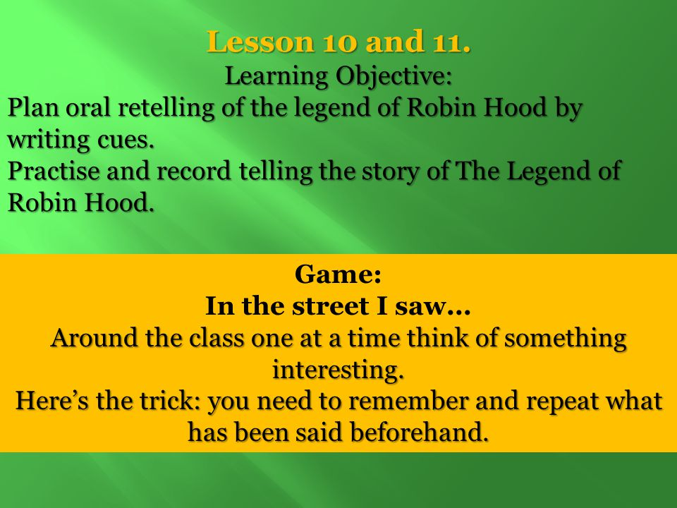 Lesson 10 and 11. Learning Objective: Plan oral retelling of the legend of Robin Hood by writing cues. Practise and record telling the story of The Le