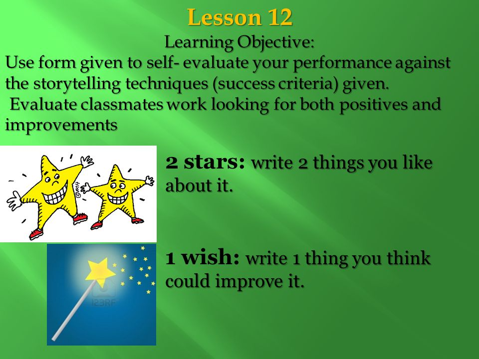 Lesson 12 Learning Objective: Use form given to self- evaluate your performance against the storytelling techniques (success criteria) given. Evaluate