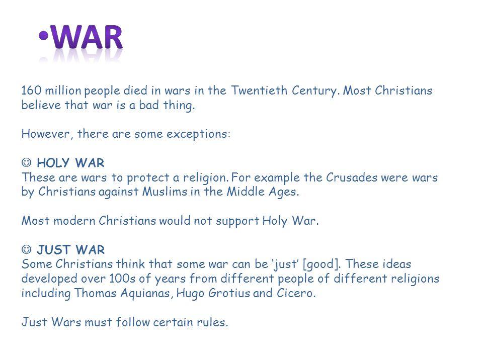 160 million people died in wars in the Twentieth Century.