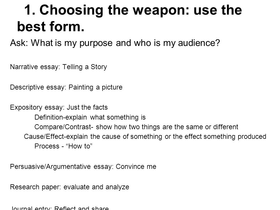 1. Choosing the weapon: use the best form. Ask: What is my purpose and who is my audience? Narrative essay: Telling a Story Descriptive essay: Paintin