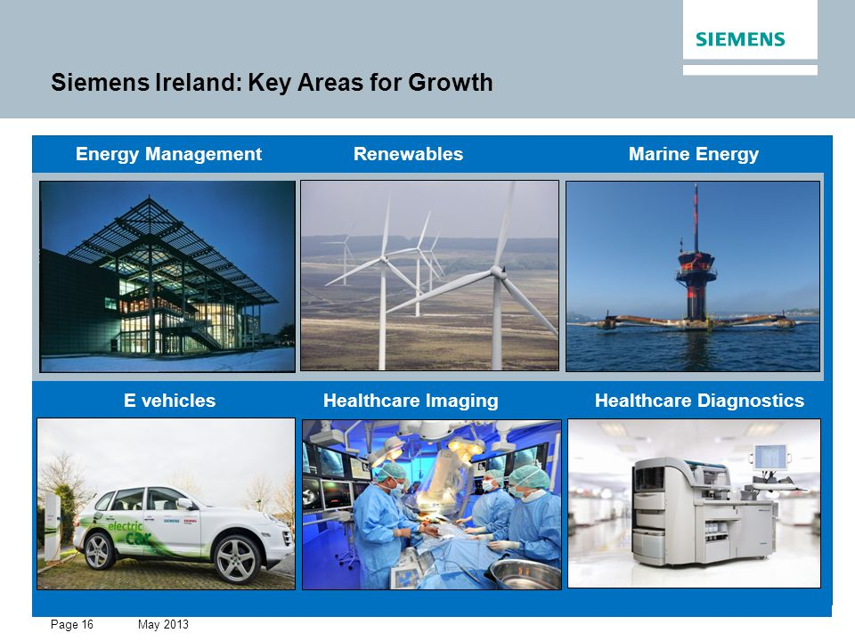 May 2013 Restricted © Siemens AG 2013 All rights reserved. Page 16 Siemens Ireland: Key Areas for Growth Energy Management Renewables Marine Energy E