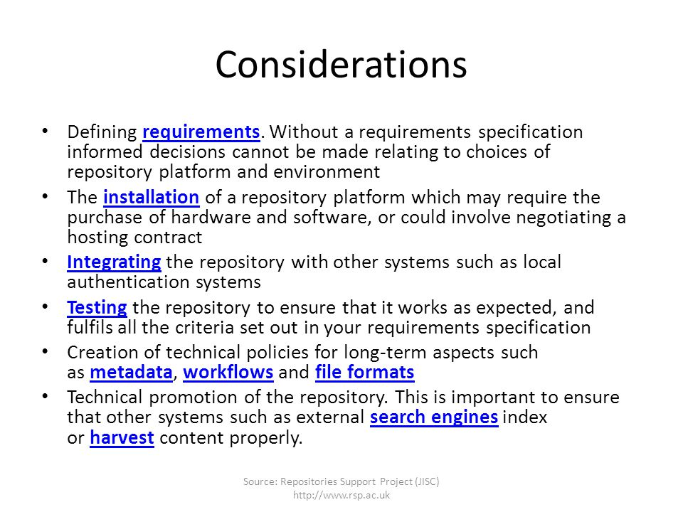Considerations Defining requirements.