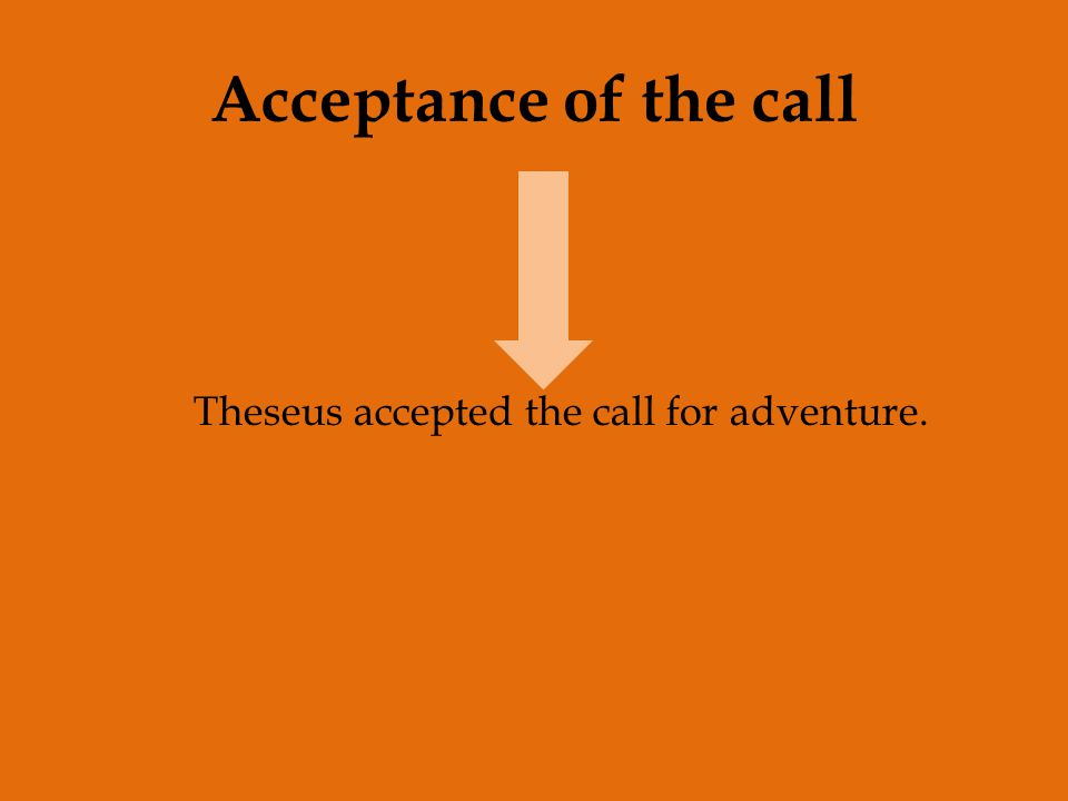 Acceptance of the call Theseus accepted the call for adventure.