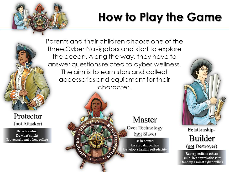 Protector (not Attacker) Be safe online Do what's right Protect self and others online Master Over Technology (not Slave) Relationship- Builder (not Destroyer) How to Play the Game Parents and their children choose one of the three Cyber Navigators and start to explore the ocean.