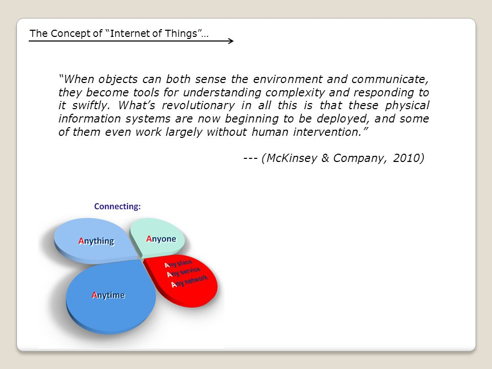 The Concept of Internet of Things … When objects can both sense the environment and communicate, they become tools for understanding complexity and responding to it swiftly.