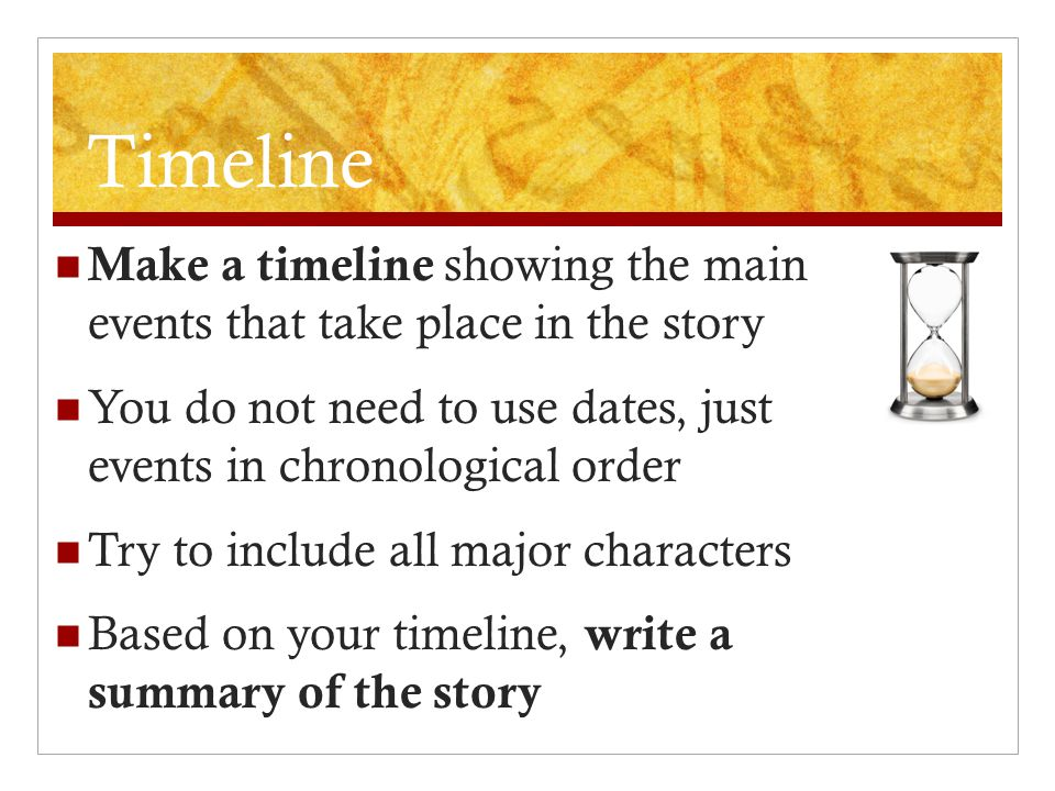 Timeline Make a timeline showing the main events that take place in the story You do not need to use dates, just events in chronological order Try to