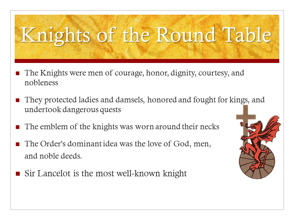 The Knights were men of courage, honor, dignity, courtesy, and nobleness They protected ladies and damsels, honored and fought for kings, and undertoo