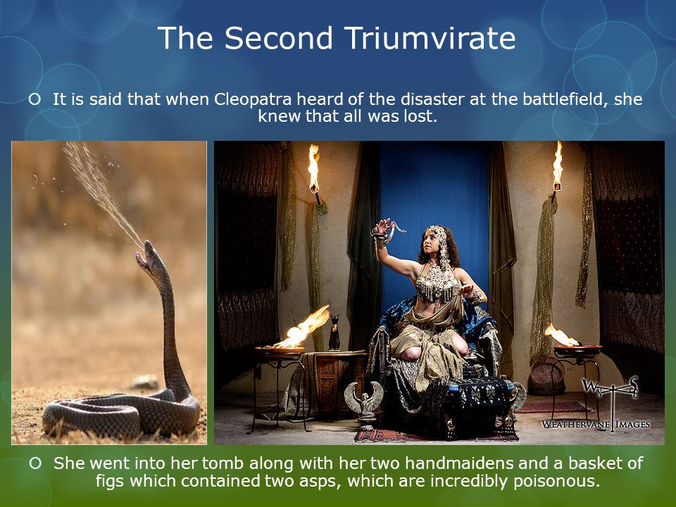 The Second Triumvirate  It is said that when Cleopatra heard of the disaster at the battlefield, she knew that all was lost.