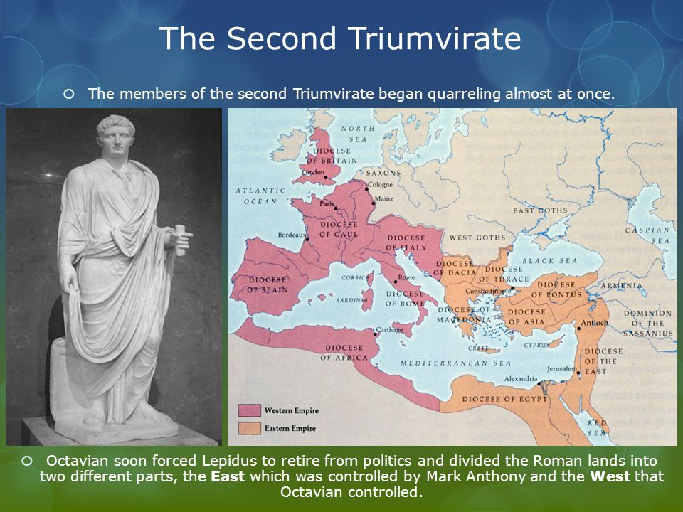 The Second Triumvirate  The members of the second Triumvirate began quarreling almost at once.