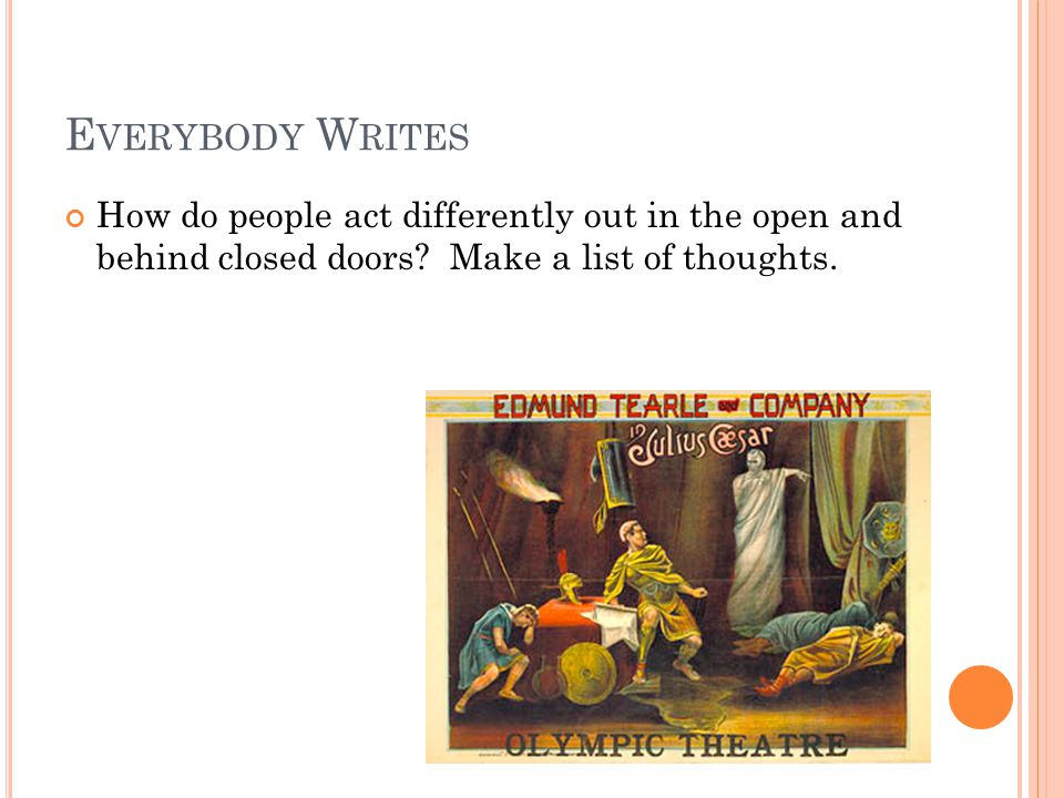 E VERYBODY W RITES How do people act differently out in the open and behind closed doors? Make a list of thoughts.
