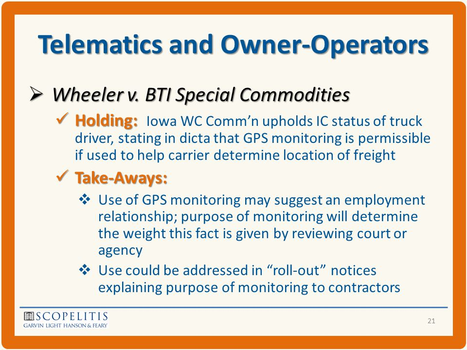 Telematics and Owner-Operators  Wheeler v.