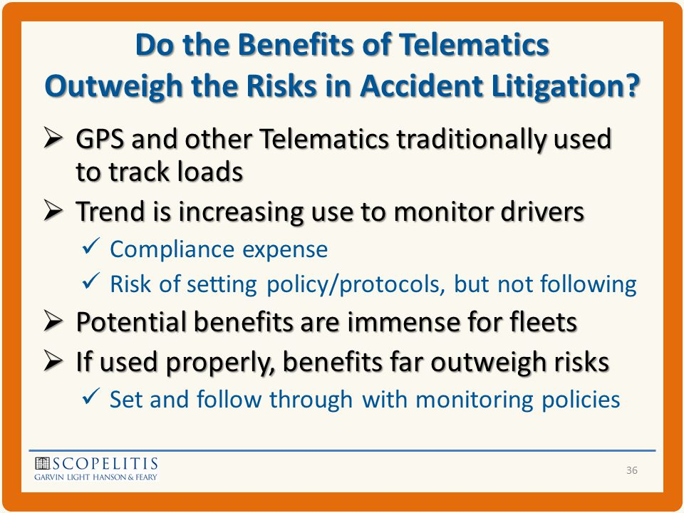 Do the Benefits of Telematics Outweigh the Risks in Accident Litigation.