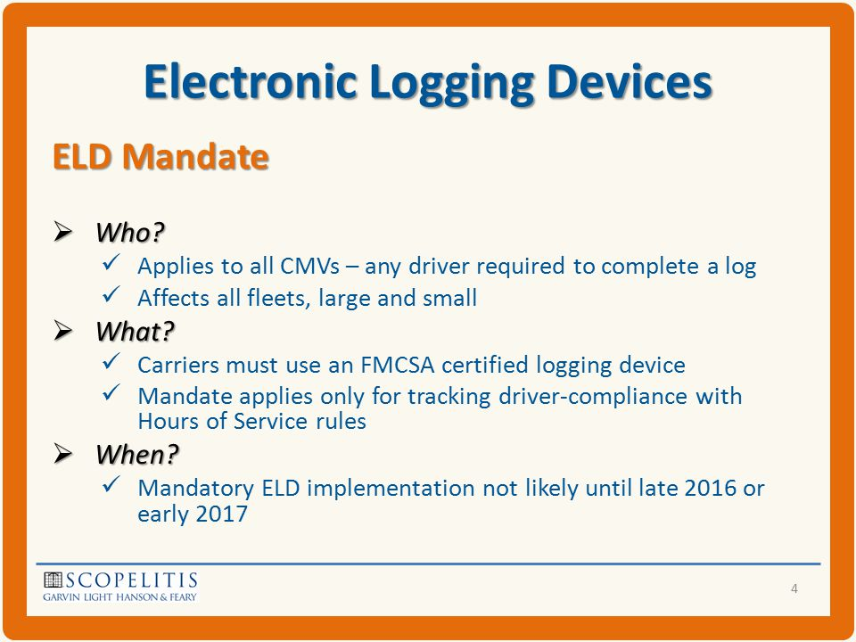 Electronic Logging Devices  Latest regulatory agenda: SNPRM November 2013  Realistic expectation: Final rule in late 2014 to early 2015  Compliance two years later – late 2016 to early 2017  To contain: Minimum ELD performance standards Mandatory use by any drivers required to prepare logs Required HOS supporting documents Measures to ensure mandated ELDs do not result in harassment of drivers by motor carriers and enforcement officials 5