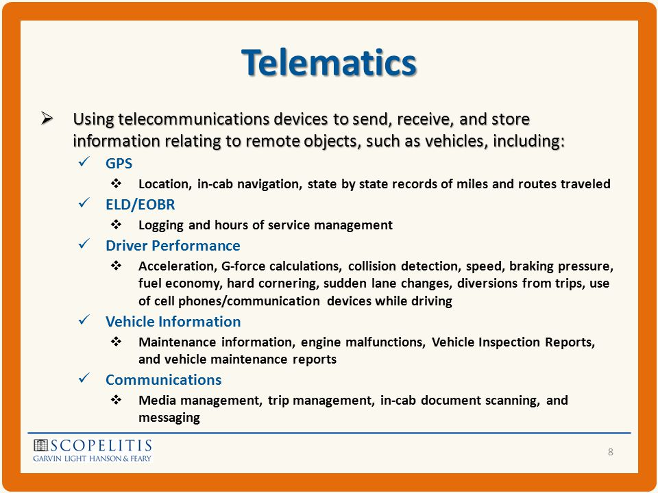 Telematics  New Acronyms V2I,V2V,V2x M2M ADAS (Advanced Driver Assist Systems) CACC (Cooperative Adaptive Cruise Control) C-ITS (Co-operative Intelligent Transport System)  Ever-changing technology Increased Internet connectivity Smart phones and tablets integrated Maintenance improvements – prognostics  Predict engine or mechanical failures 9