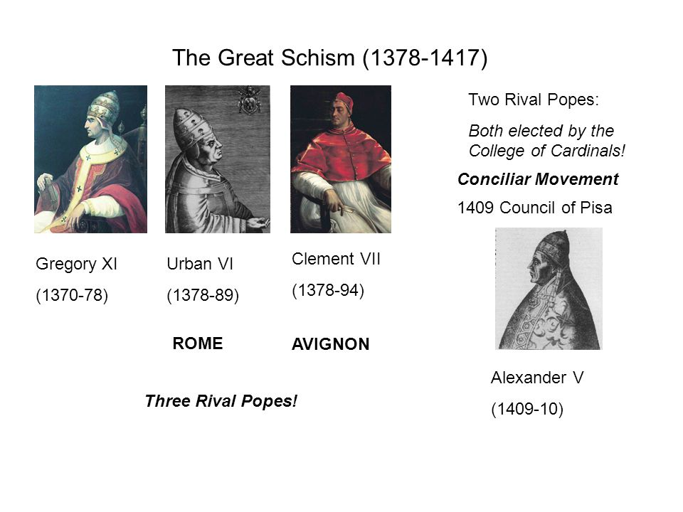 The Great Schism (1378-1417) Gregory XI (1370-78) Urban VI (1378-89) Clement VII (1378-94) ROME AVIGNON Two Rival Popes: Both elected by the College of Cardinals.