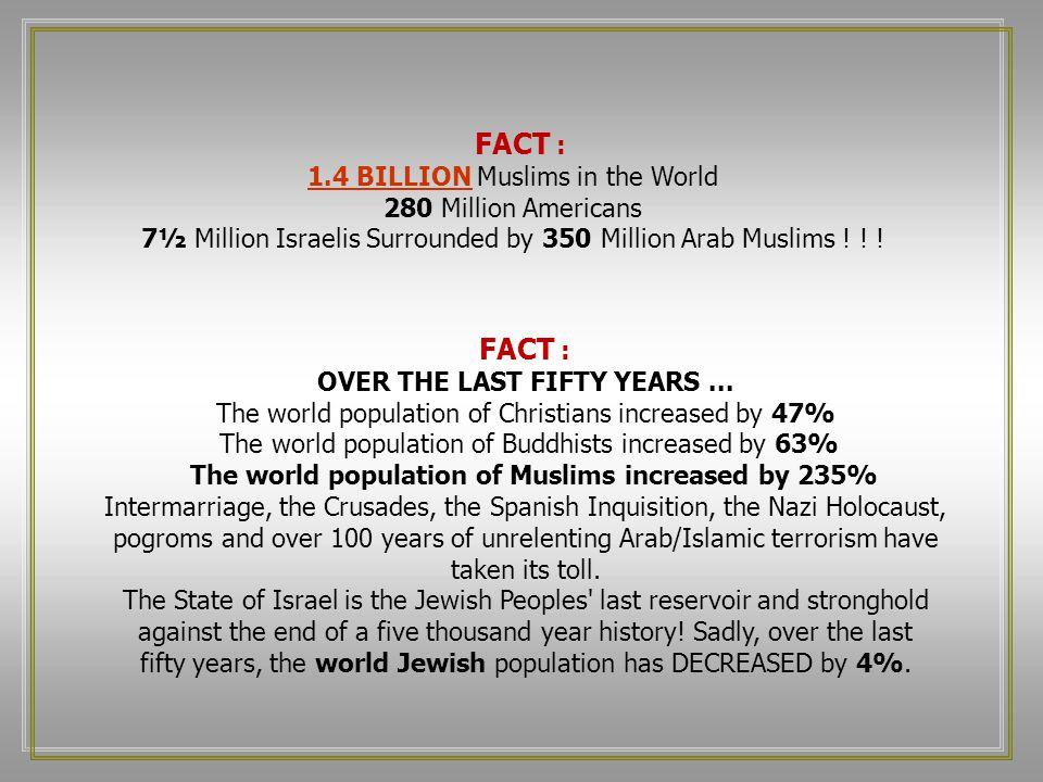 FACT : 1.4 BILLION Muslims in the World 280 Million Americans 7½ Million Israelis Surrounded by 350 Million Arab Muslims .
