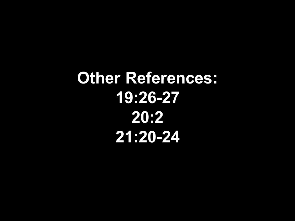 Other References: 19:26-27 20:2 21:20-24