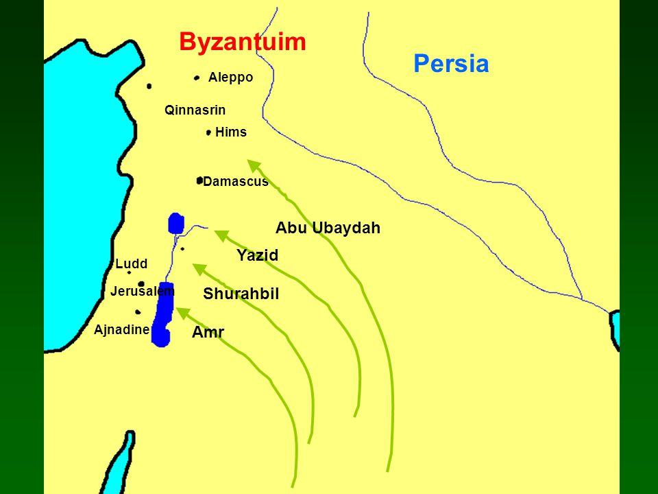 Damascus Ajnadine Jerusalem Hims Ludd Aleppo Qinnasrin Abu Ubaydah Yazid Shurahbil Amr Persia Byzantuim
