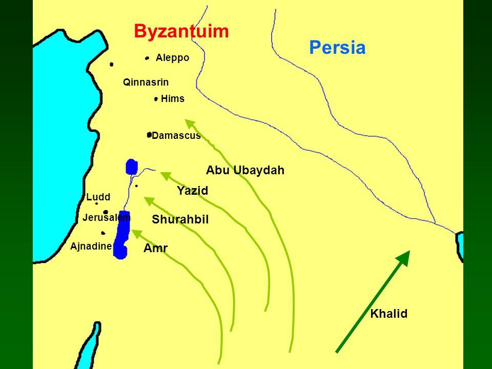 Damascus Ajnadine Jerusalem Hims Ludd Aleppo Qinnasrin Abu Ubaydah Yazid Shurahbil Amr Khalid Persia Byzantuim