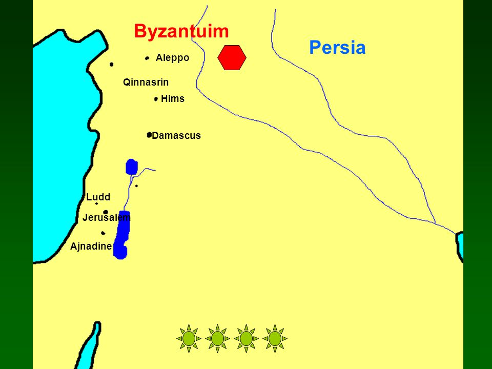 Damascus Ajnadine Jerusalem Ludd Aleppo Qinnasrin Persia Byzantuim Hims