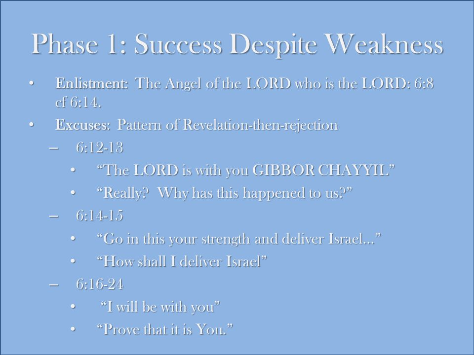 Phase 1: Success Despite Weakness Enlistment: The Angel of the LORD who is the LORD: 6:8 cf 6:14.